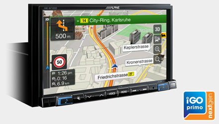 Built-in iGo Primo NextGen Navigation - INE-W720DC